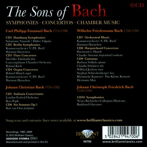 The Sons of Bach: Symphonies; Concertos; Chamber Music