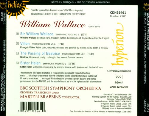 William Wallace: The Passing of Beatrice; Sir William Wallace; Villon; Sister Helen