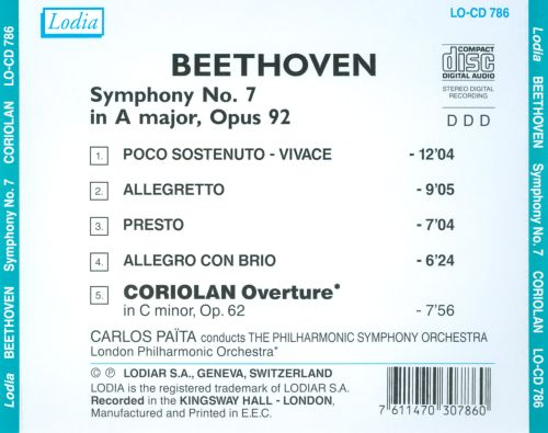 Beethoven: Symphony No. 7; Coriolan Overture