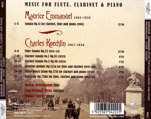 Charles Koechlin, Maurice Emmanuel: Music for Flute, Clarinet & Piano