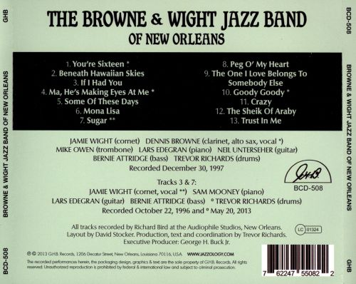 The Browne and Wight Jazz Band Of New Orleans