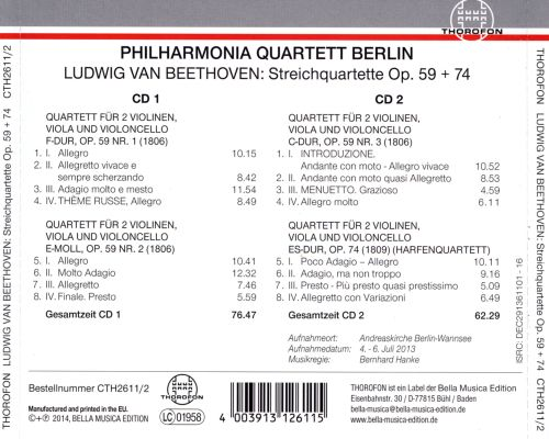 Beethoven: String Quartets, Op. 59 & 74