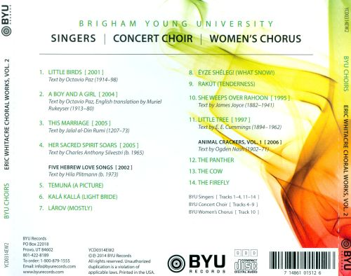 Eric Whitacre: Choral Works, Vol. 2