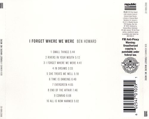 I Forget Where We Were - Ben Howard   Songs, Reviews