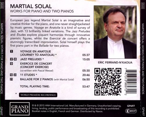 Martial Solal: Works for Piano and Two Pianos