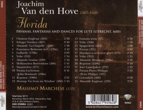 Joachim Van den Hove: Florida, Pavanas, Fantasias and Dances for Lute