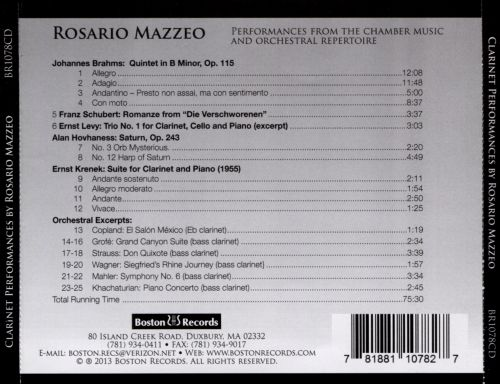 Rosario Mazzeo: Clarinetist, Inventor, Educator - Performances from the Chamber Music and Orchestral Repertoire