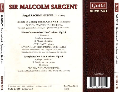 Rachmaninoff: Prelude in C sharp minor; Piano Concerto No. 2; Symphony No. 3