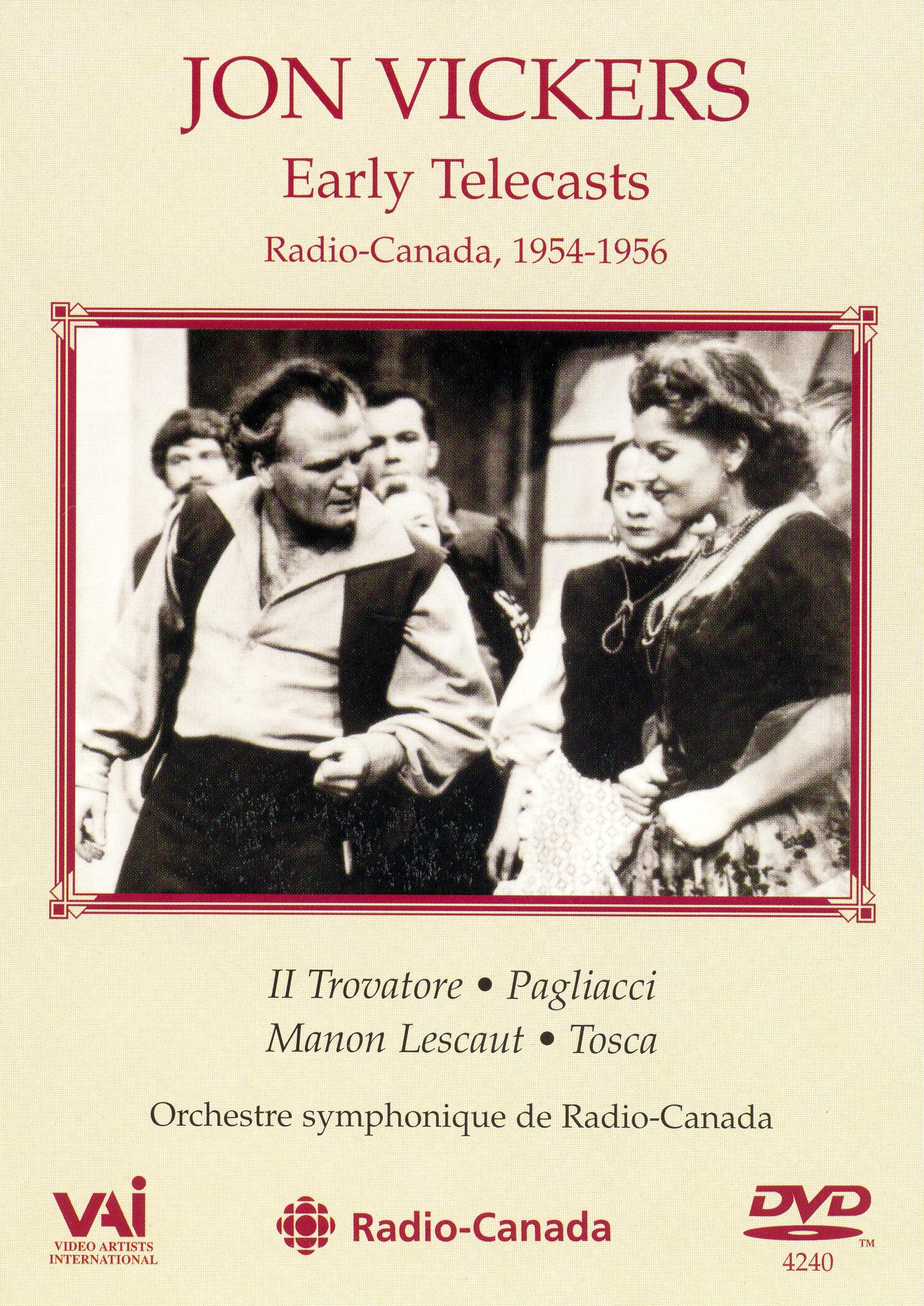 Jon Vickers: Early Telecasts - Radio-Canada, 1954-1956