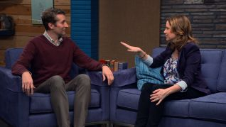 Comedy Bang! Bang!: Jenna Fischer Wears a Floral Blouse & Black Heels