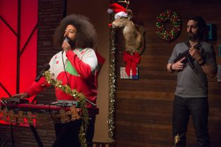 Comedy Bang! Bang!: The Lonely Island Wear Holiday Sweaters & White Pants