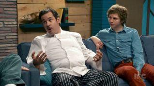 Comedy Bang! Bang!: Michael Cera Wears A Blue Denim Shirt & Red Pants