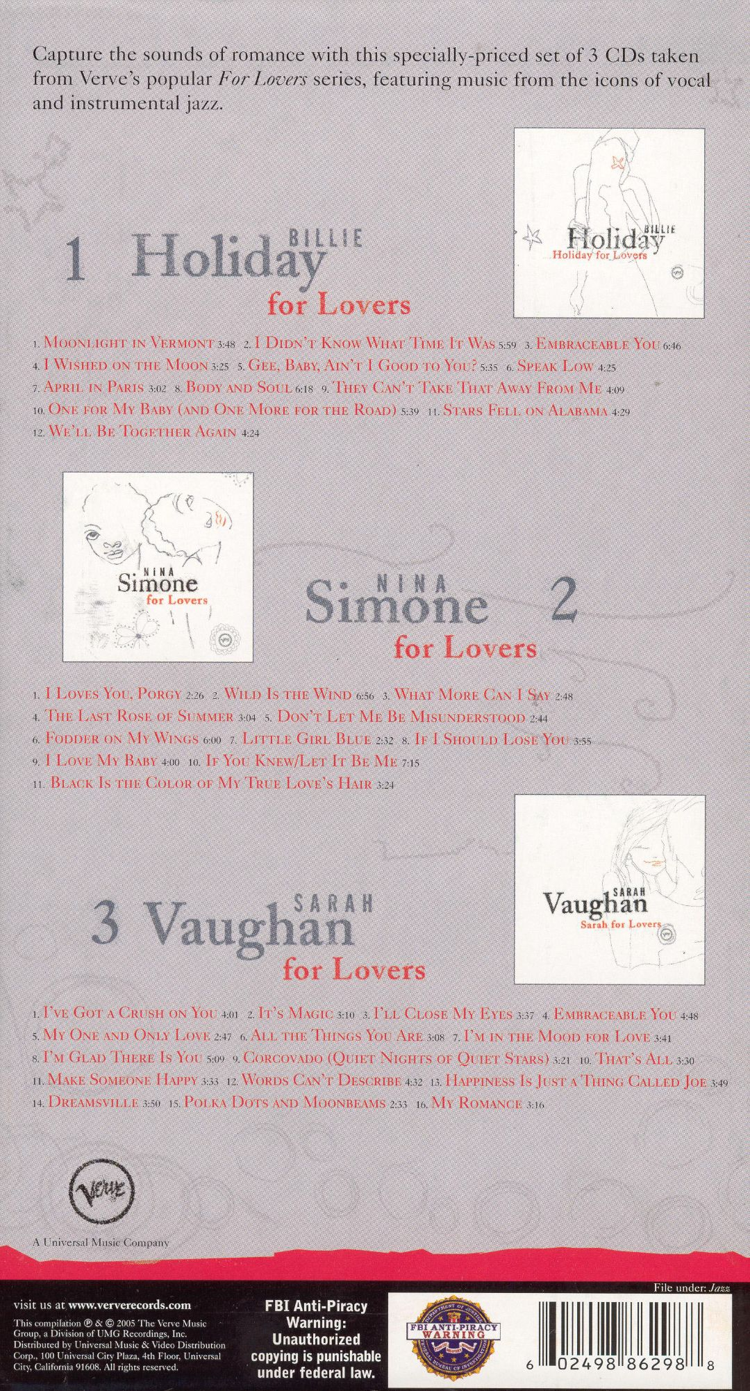 For Lovers: Billie Holiday/Nina Simone/Sarah Vaughan