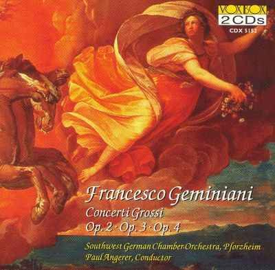 Concerti Grossi (6), for 2 violins, viola, cello, strings & continuo, Op. 3