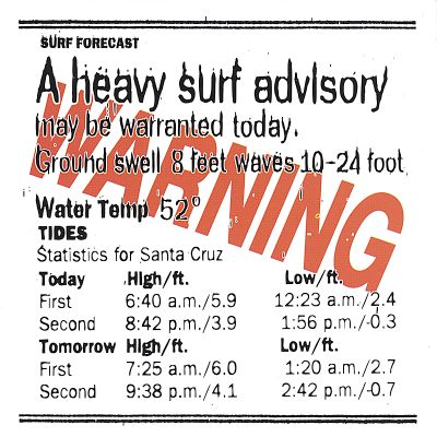 Warning, Heavy Surf Advisory
