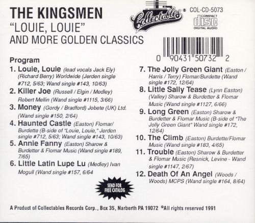 Louie, Louie and More Golden Classics - The Kingsmen | Songs ...