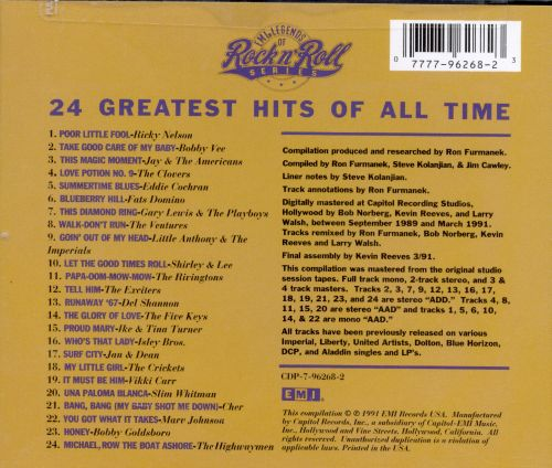 emi legends of rock n 39 roll 24 greatest hits of all time various artists songs reviews. Black Bedroom Furniture Sets. Home Design Ideas