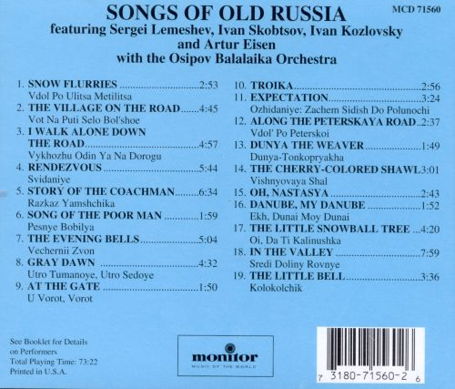 Songs of Old Russia [Monitor]