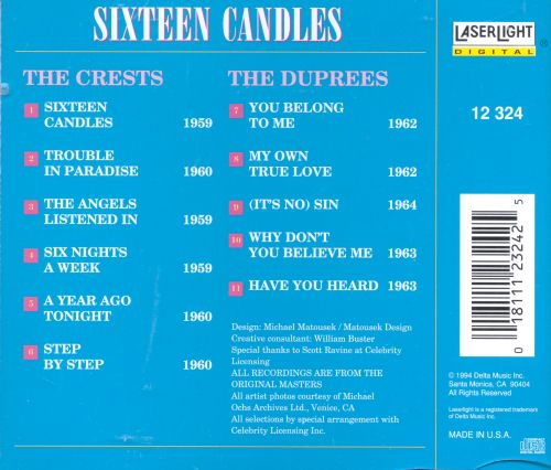 The Very Best of the Crests: Sixteen Candles