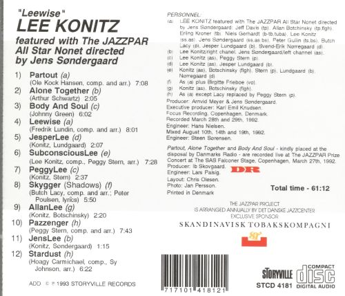 Lee Konitz and the Jazzpar All Star Nonet
