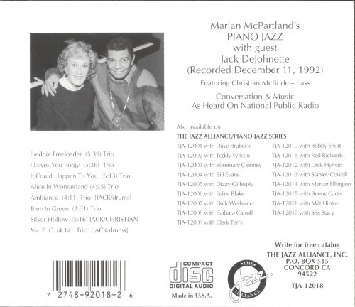 Marian McPartland's Piano Jazz with Guest Jack DeJohnette