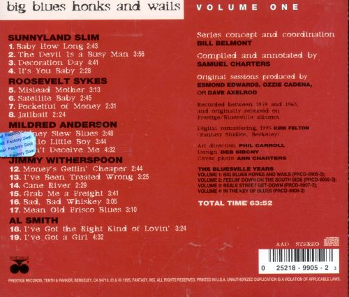 The Bluesville Years, Vol. 1: Big Blues Honks and Wails