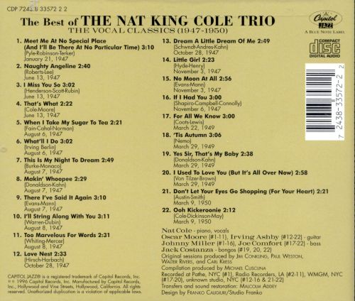 The Best of the Nat King Cole Trio: The Vocal Classics, Vol. 2 (1947-1950)
