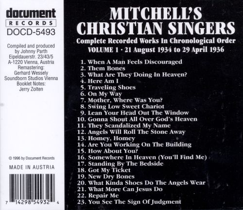 Mitchell's Christian Singers, Vol. 1: 1934-1936