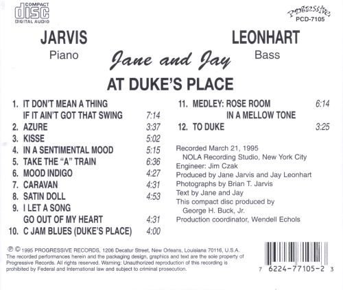 Janen Jarvis & Jay Leonhart at Duke's Place