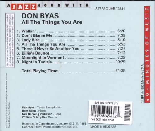 Jazz Hour with Don Byas: All the Things You Are