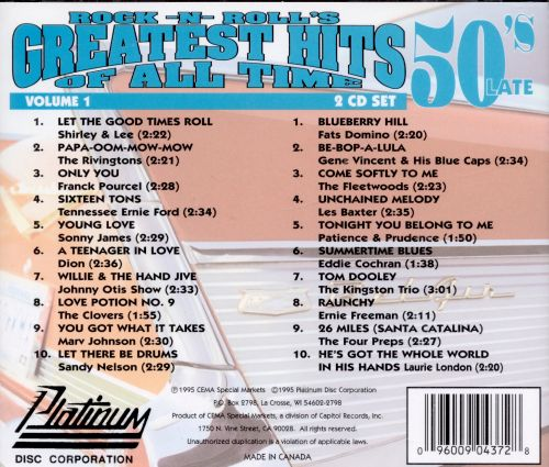 Rock -N- Roll's Greatest Hits of All Time, Vol. 1:  The 50's