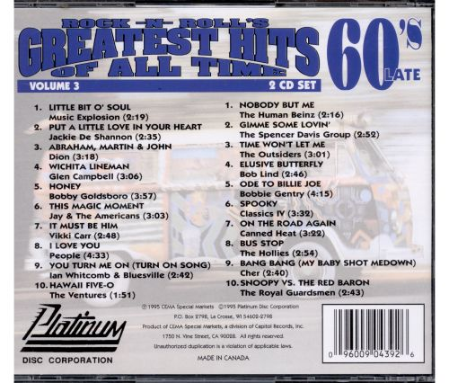 Rock -N- Roll's Greatest Hits of All Time, Vol. 3: The 60s