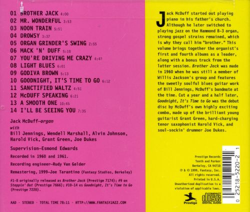 Legends of Acid Jazz Jack McDuff: Brother Jack & Goodnight, It's Time to Go