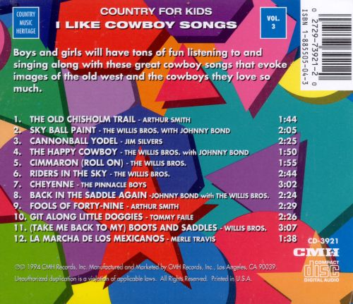Country for Kids, Vol. 3: I Like Cowboy Songs
