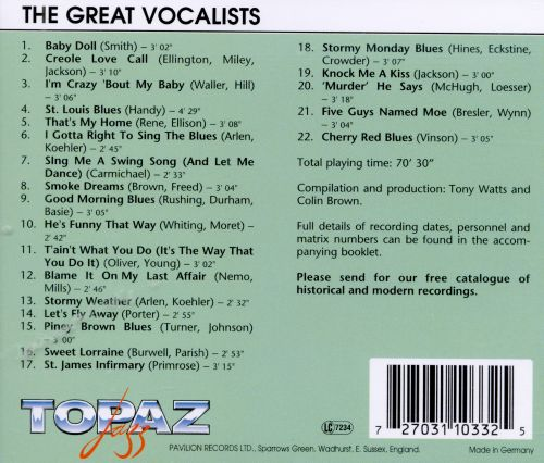 Topaz Jazz: Great Vocalists