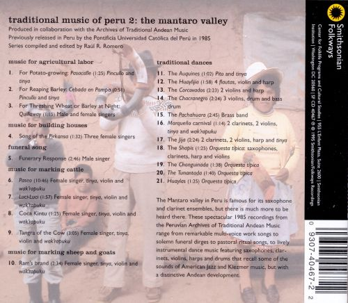 Traditional Music of Peru, Vol. 2: The Mantaro Valley