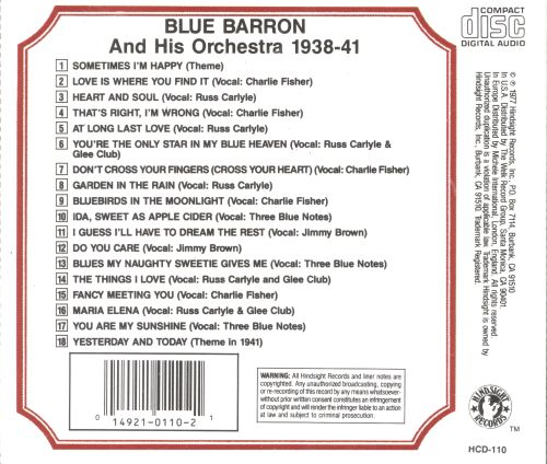 The Uncollected Blue Barron & His Orchestra, Vol. 1 (1938-1941)