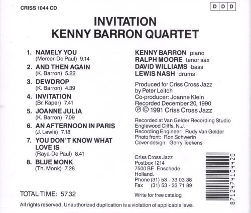 Invitation Kenny Barron Songs Reviews Credits AllMusic