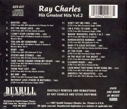 his greatest hits vol 2 dcc ray charles songs