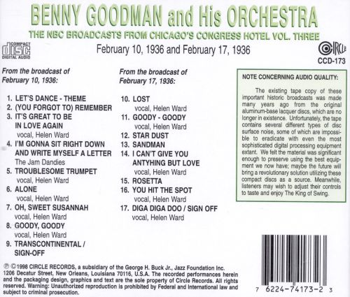 Benny Goodman from the Congress Hotel, Vol. 3: 1936 [Circle]