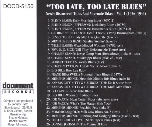 Too Late, Too Late Blues, Vol. 1