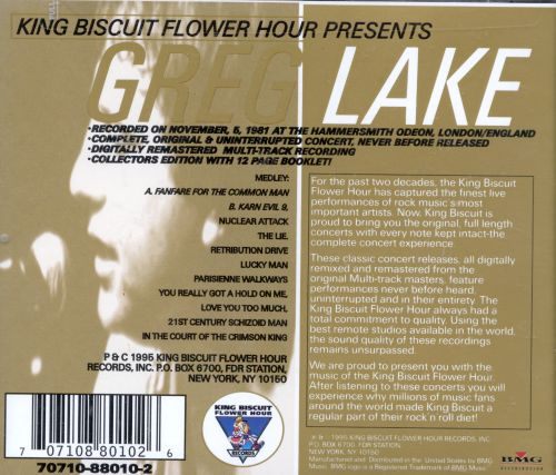 King Biscuit Flower Hour: Greg Lake In Concert