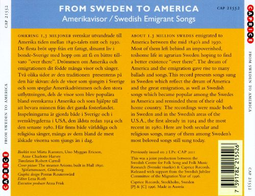 From Sweden To America: Swedish Emigrant Songs/Amerikavisor