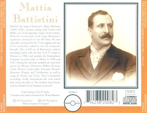 Mattia Battistini: The Complete Recordings, Vol. 1: 1902-11