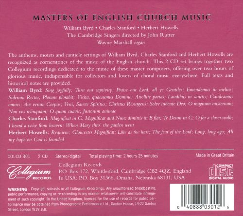 Masters of English Church Music: Byrd, Stanford, Howells