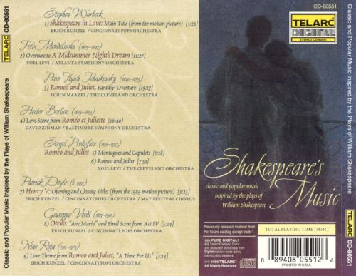 Shakespeare's Music: Classic and Popular Music Inspired by the Plays