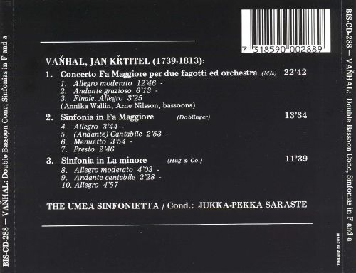 Vanhal: Concerto in F for 2 Bassoons; 2 Sinfonias