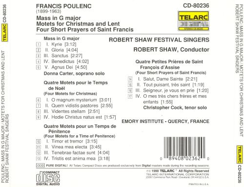 Poulenc: Mass in G major; Motets