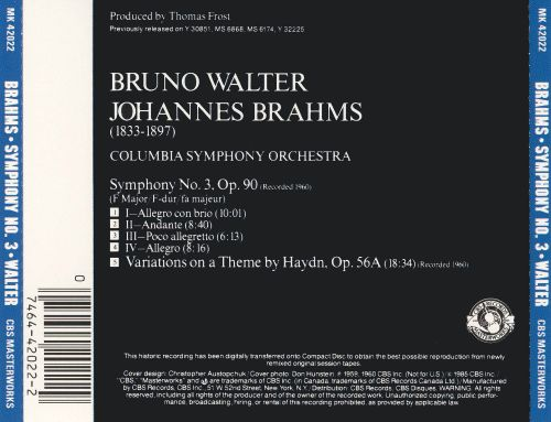 Brahms: Symphony No. 3; Variations on a Theme by Haydn