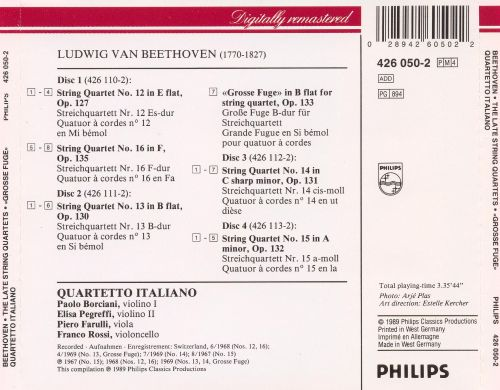 Beethoven: The Late String Quartets;